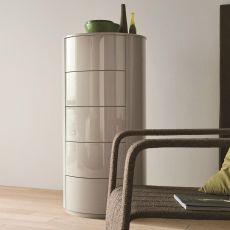 Christal-D - Cassettiera alta Dall'Agnese in legno, diverse finiture disponibili, cinque cassetti