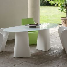 Adam 200 - Design table B-Line, also for outdoor, made of polyethylene, with oval top in glass, available in different colours