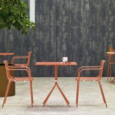 Nolita T - Fester Tisch Pedrali, aus Metall, mit runder oder viereckiger Platte, auch für den Außenbereich