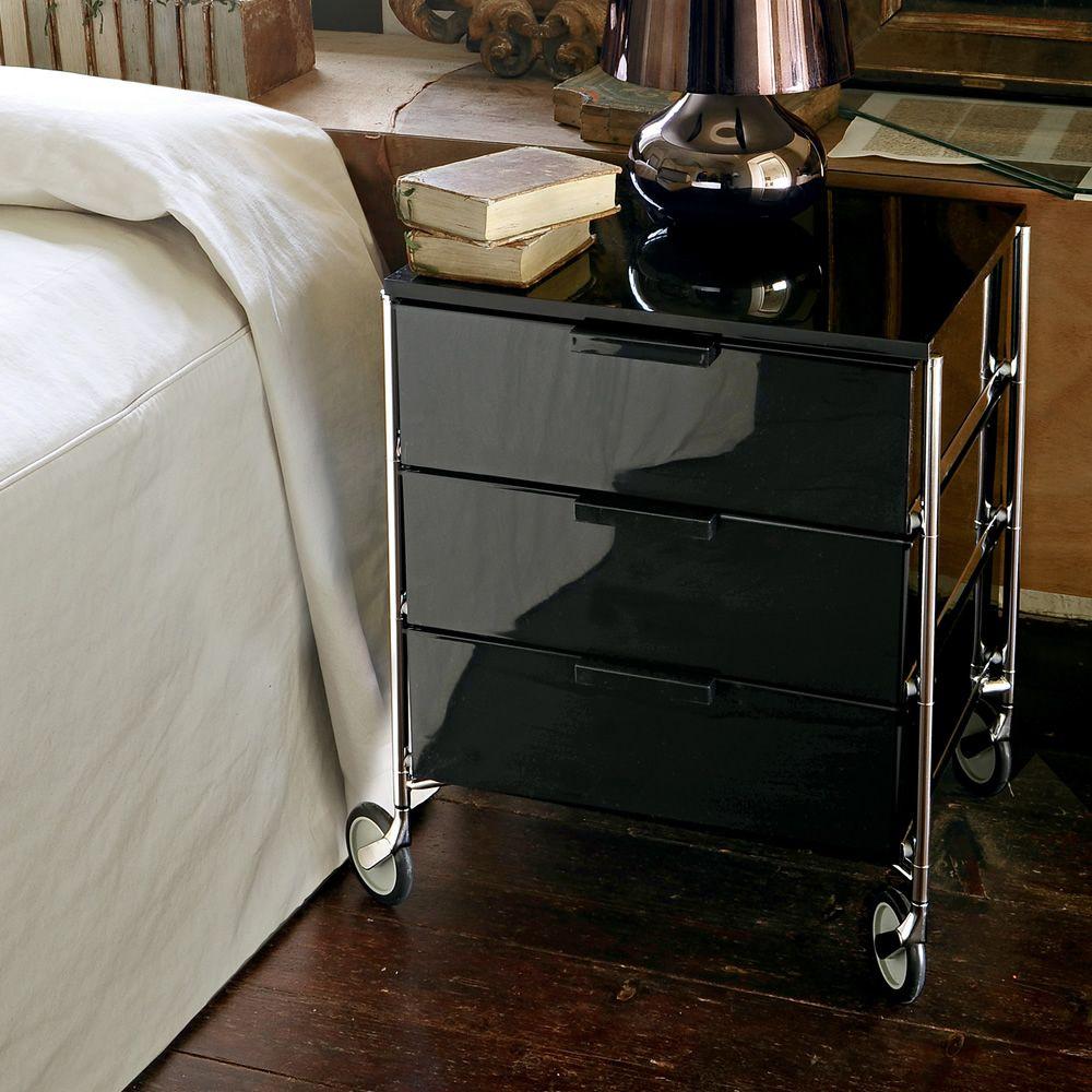 mobil meuble de rangement kartell 3 tiroirs en m tal et m thacrylate avec ou sans roulettes. Black Bedroom Furniture Sets. Home Design Ideas