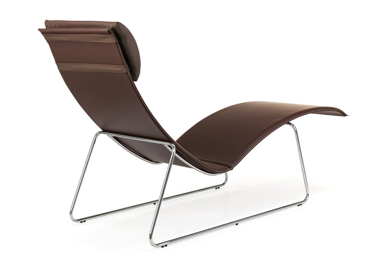 Relax chaise longue midj en m tal et cuir coussin en - Chaise metal et cuir ...