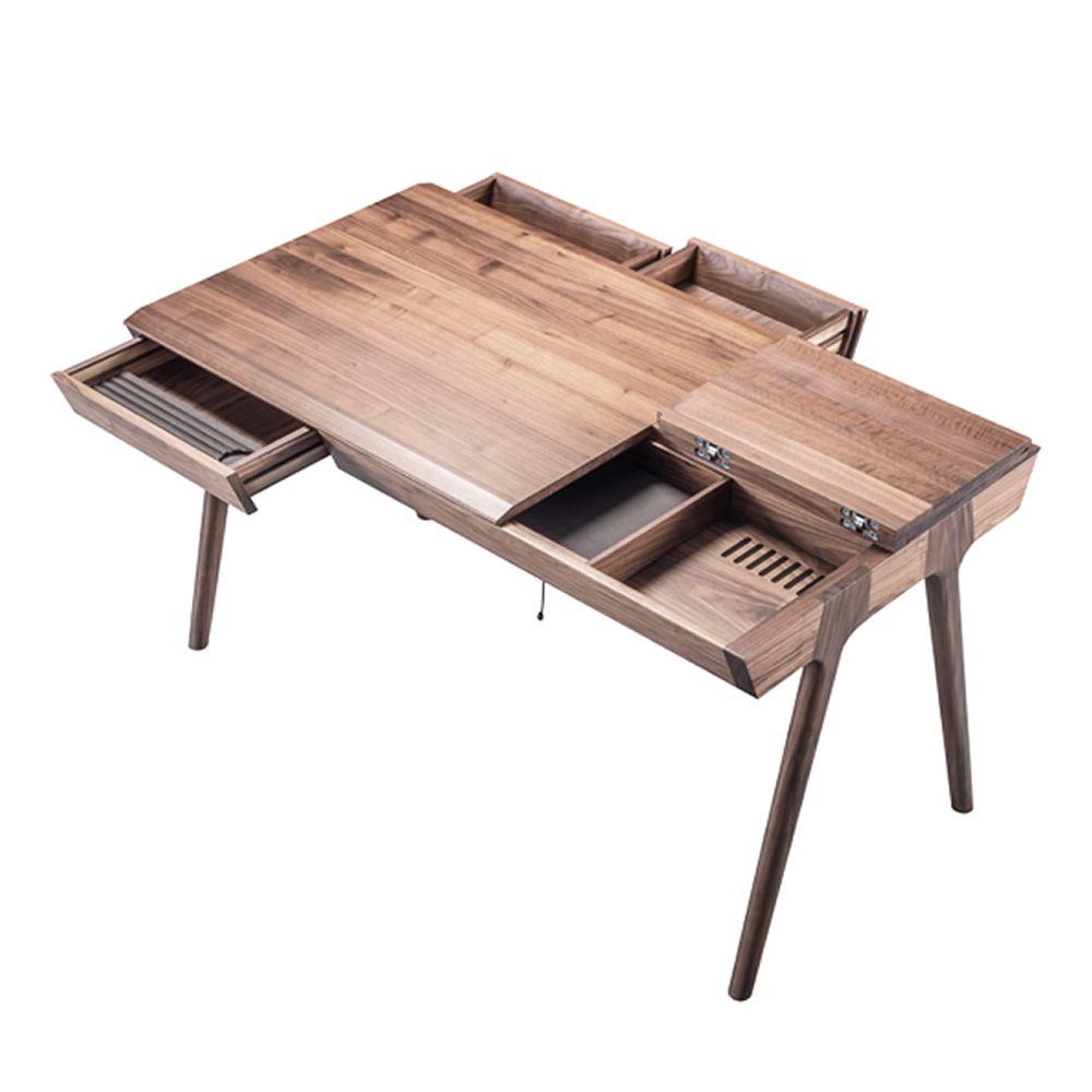metis bureau design en bois avec tiroirs et compartiments sediarreda. Black Bedroom Furniture Sets. Home Design Ideas