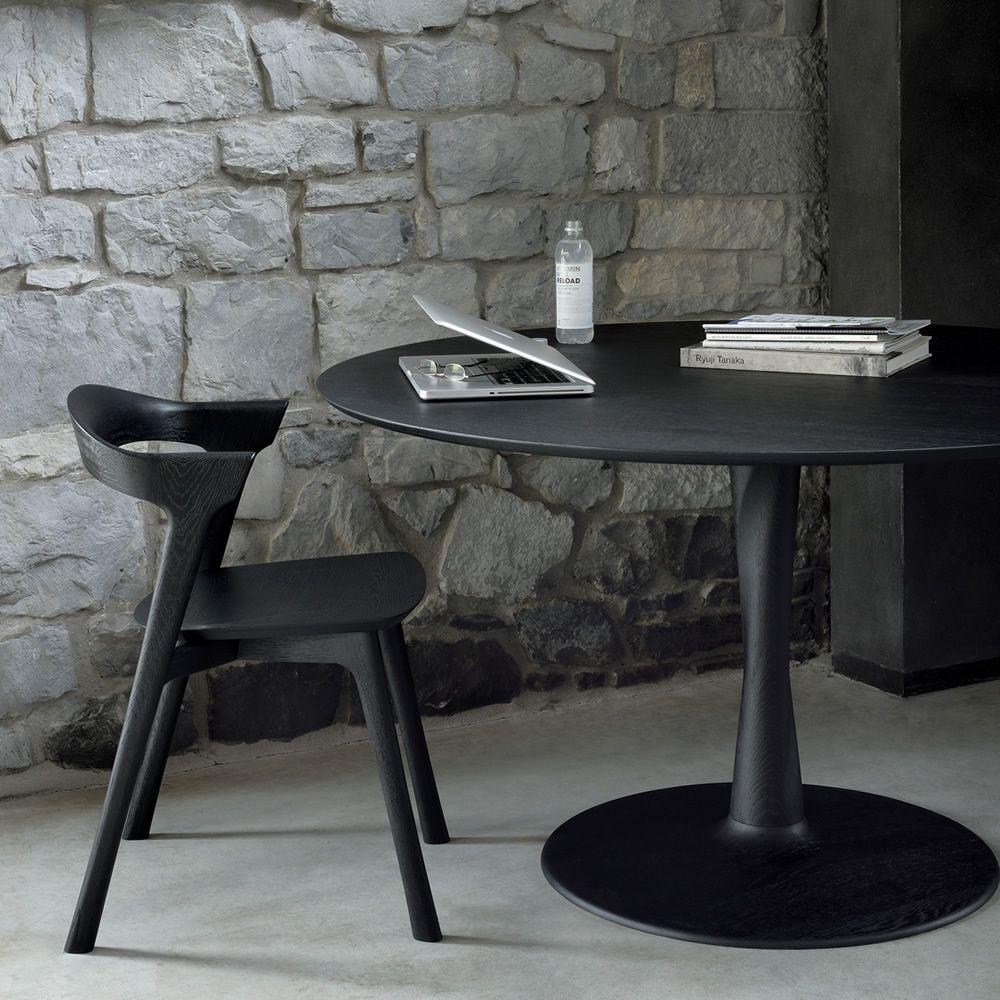 Torsion tavolo fisso ethnicraft in legno piano rotondo - Tavolo rotondo in legno ...