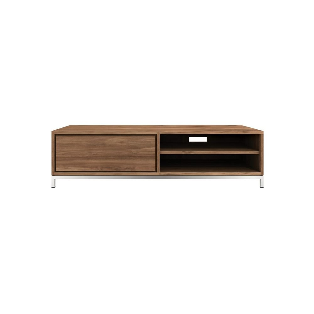 Essential tv meuble tv ethnicraft en bois avec tiroirs for Dimension meuble tv