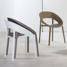 TT1061 - Chaise empilable en polypropylene et fibre de verre, disponible en différentes couleurs, aussi pour l'extérieur