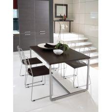 Fast - Tavolo Domitalia in metallo, piano in melaminico, 130 x 85 cm allungabile