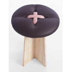 Bottone - Low stool in wood with padded seat, several colours available