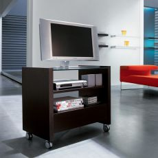 7066 - Tonin Casa TV stand made of wood in wengè colour, transparent glass top, with wheels