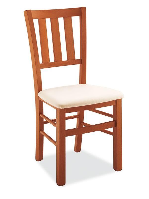 240 silla de madera asiento acolchado en tejido sediarreda for Sillas de madera tapizadas en tela