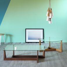 Gaudo - Tavolino Miniforms, in legno con piano in vetro, diverse dimensioni disponibili