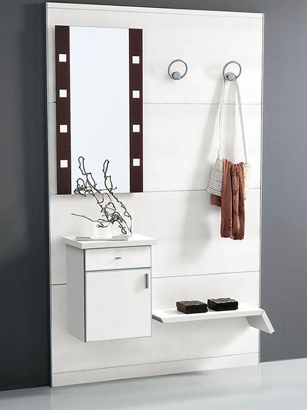 Pad351 mueble de entrada con espejo y percheros sediarreda for Mueble entrada