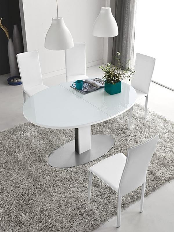 756 e tavolo in metallo con piano ovale in vetro for Tavolo ovale bianco design