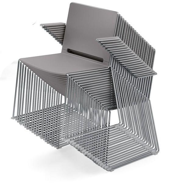 Ml170p sedia con braccioli impilabile in metallo e for Sedie impilabili