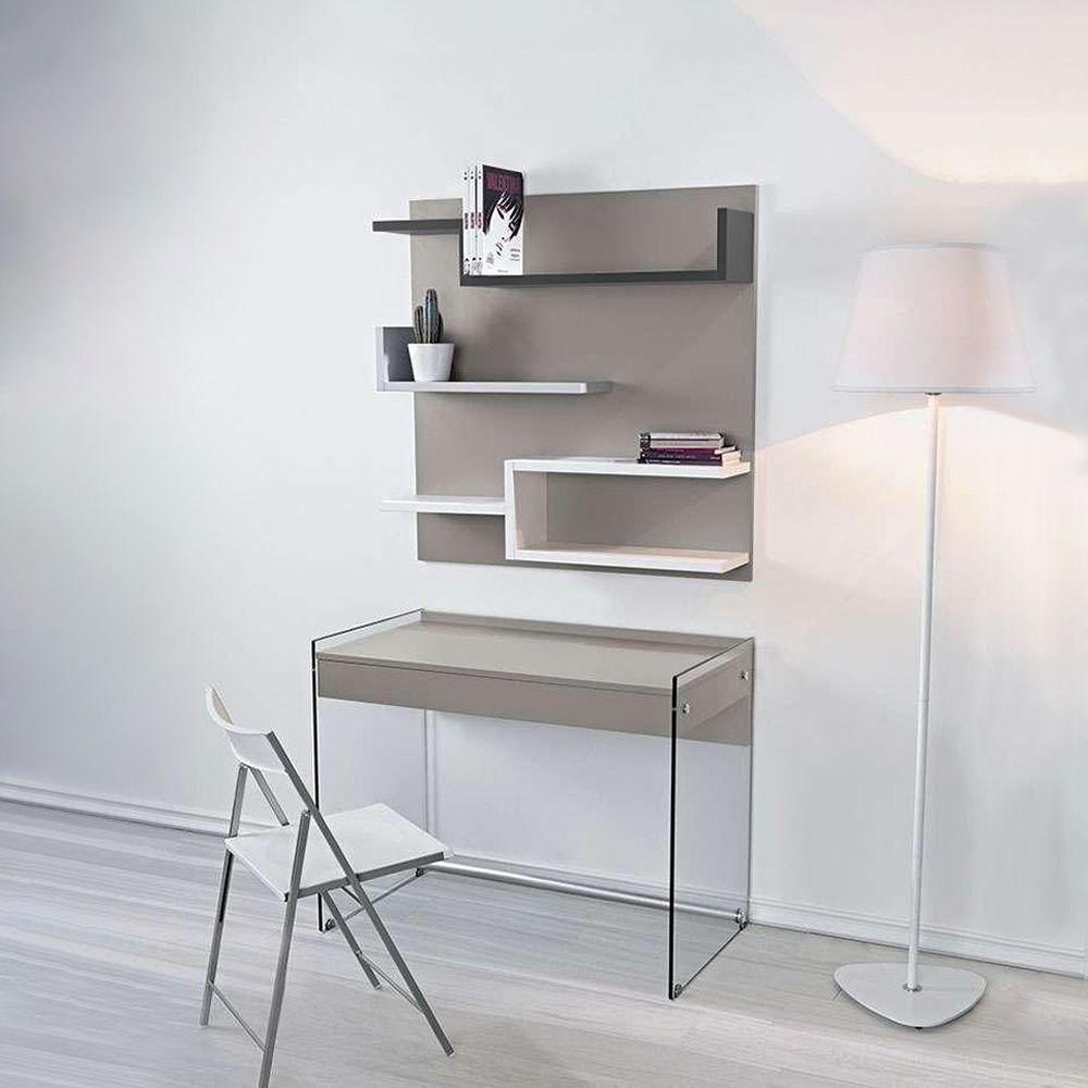 My B - Kombination mit Schreibtisch aus Glas und Wandbücherregal aus ...