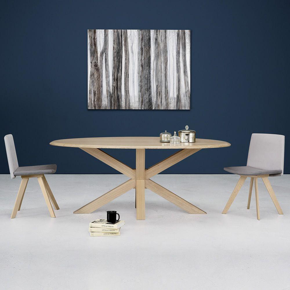 Star tavolo moderno in legno piano ovale in legno for Tavolo moderno in legno