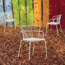 Flint - Sedia design in metallo e polipropilene, impilabile, anche per giardino