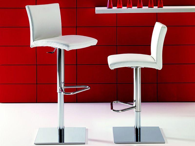 Soft sgabello regolabile in altezza in metallo seduta in pelle