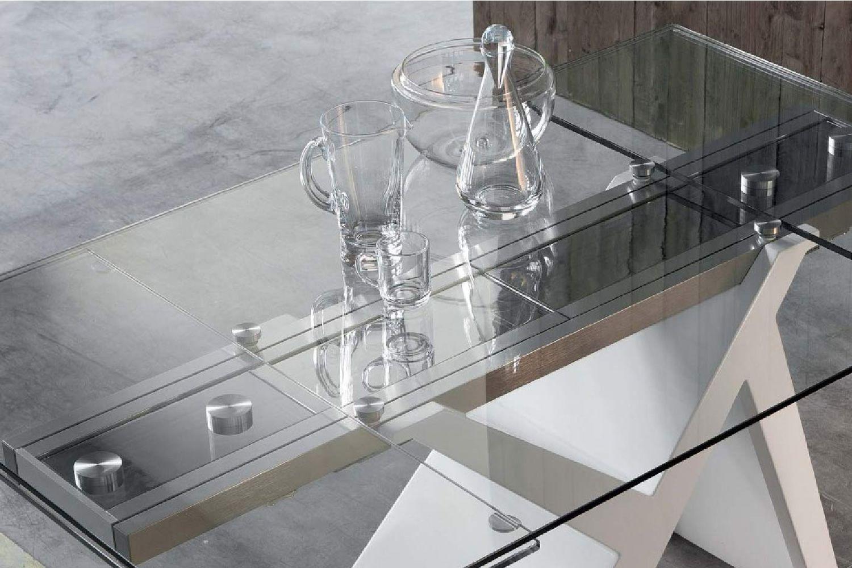 akille moderner holztisch fest oder verl ngerbar mit tischplatte aus glas oder laminat in. Black Bedroom Furniture Sets. Home Design Ideas