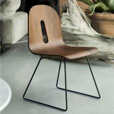 Gotham Woody - Sedia di design Chairs&More, in metallo con seduta in legno, con o senza braccioli