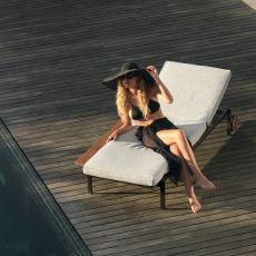 Casilda L - Design-Sonnenliege aus Metall, mit Kissen Platte, für Außenbereich