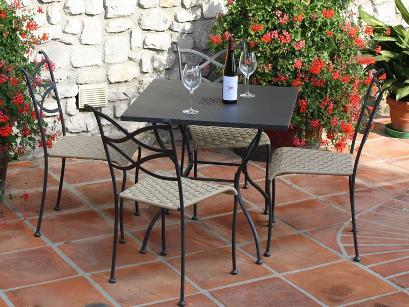viereckiger gartentisch aus stahl 80x80 cm f r au enbereich eros 80 sediarreda. Black Bedroom Furniture Sets. Home Design Ideas