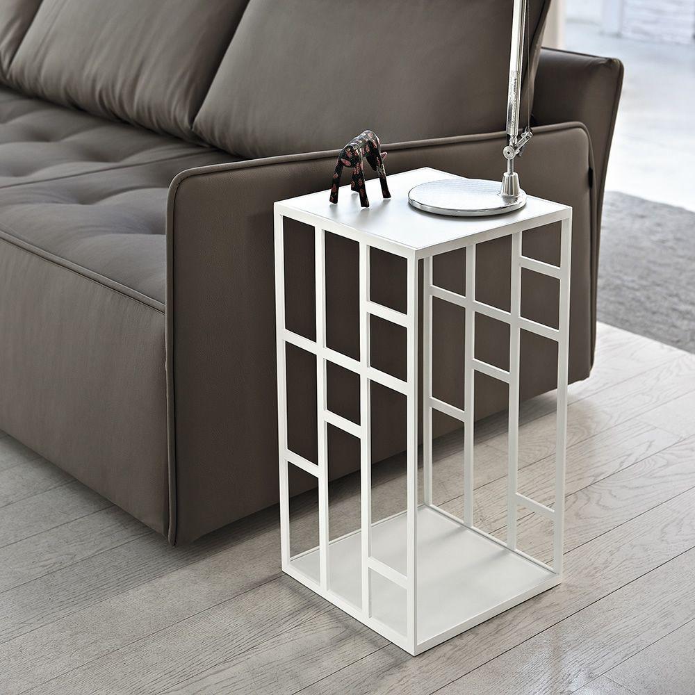Manhattan - Tavolino di desing Bontempi Casa, con struttura in metallo e piano in vetro, diversi ...