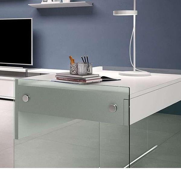mydesk bureau en verre avec tiroir et plateau en. Black Bedroom Furniture Sets. Home Design Ideas