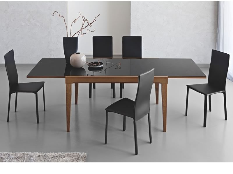 cb4702 v 130 fly table extensible connubia calligaris en bois avec plateau en verre 130 x 90. Black Bedroom Furniture Sets. Home Design Ideas