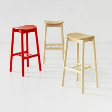 Nico Stool V2 - High stool in ash wood, available in several colours