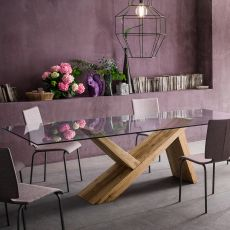 aKeo F - Designer wooden table, fixed, with top in glass, available in different dimensions