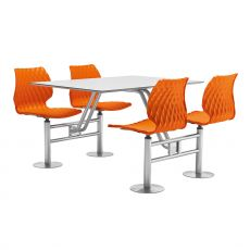 Uni 500 - Fast food set in metal and polypropylene, swivel seats, available in several colours