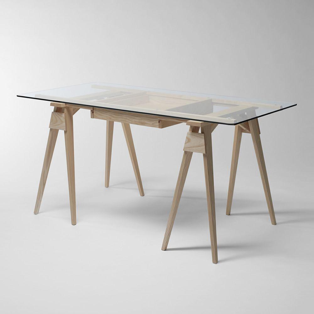 Arco bureau en bois plateau en verre 150 x 75 cm avec - Plateau de bureau bois ...