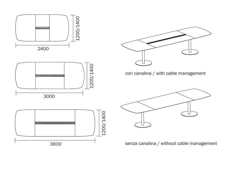 Plano tavolo pedrali da riunione in metallo con piano - Misure tavolo 6 posti ...