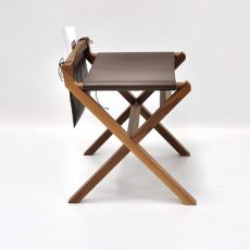 Lucio - Valsecchi low stool made of wood with leather seat, with storage saddlebag