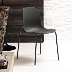 April - Chaise empilable de Bontempi Casa, en métal et polypropylène, disponible en différentes couleurs, aussi pour extérieur