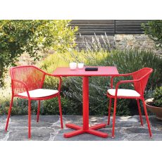 Darwin T - Emu table made of metal, stackable, square top in several sizes, for garden