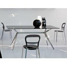 CS4042-RC 180 Seven - Tavolo Calligaris in metallo, piano in vetro, 180x90 cm, fisso