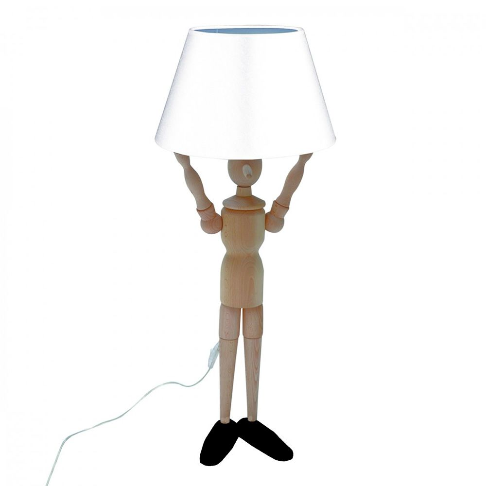 pinocchio l lampe poser au sol valsecchi en bois abat jour en tissu disponible dans. Black Bedroom Furniture Sets. Home Design Ideas