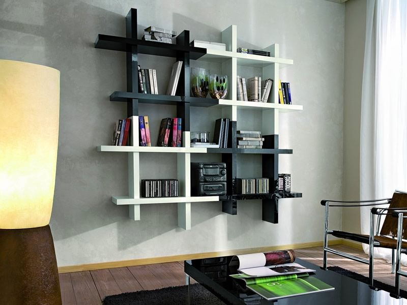 pa492 biblioth que suspendue blanche noire sediarreda. Black Bedroom Furniture Sets. Home Design Ideas