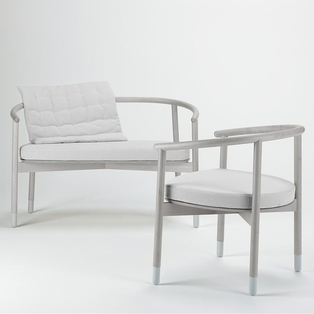 Wooden armchair with cushion -  With Cushion For Stick S 2 Seater Sofa Made Of Beech Wood Silver Colour