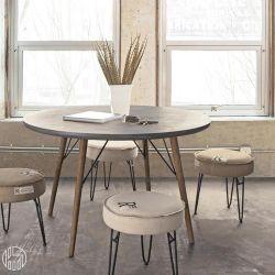 cairo designer tisch mit holzgestell und mdf platte mit zement effekt rund oder rechteckig. Black Bedroom Furniture Sets. Home Design Ideas