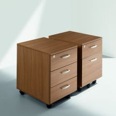 Cassettiera Wood - Office chest of drawers made of laminate, equipped with rubber wheels, with two or three drawers, different finishes available