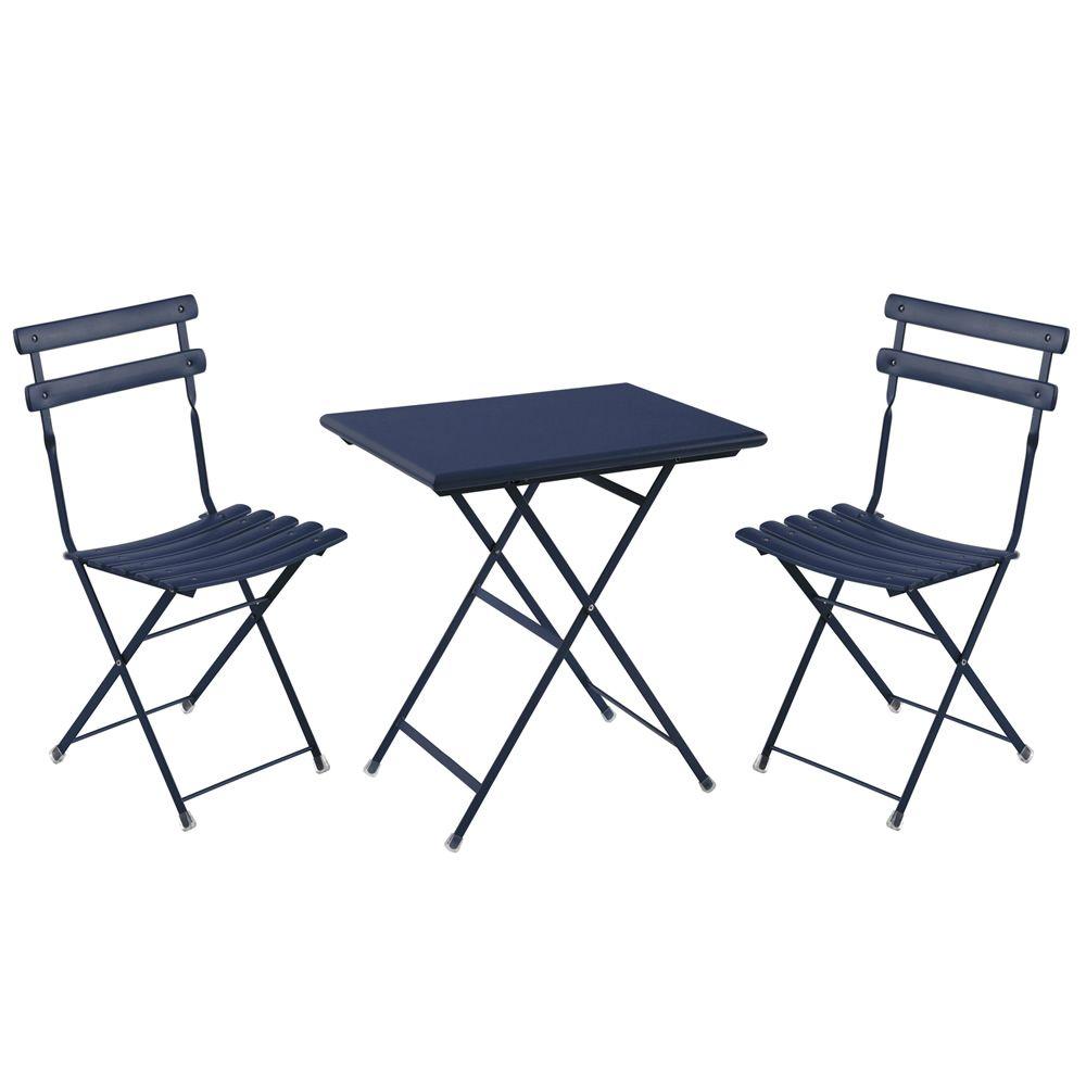 Arc en ciel Set: Set Emu, 2 Stühle und Metalltisch mit rechteckiger ...