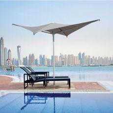 OMB50 - Parasol de design à base centrale en aluminium, carré, disponible en différentes dimensions