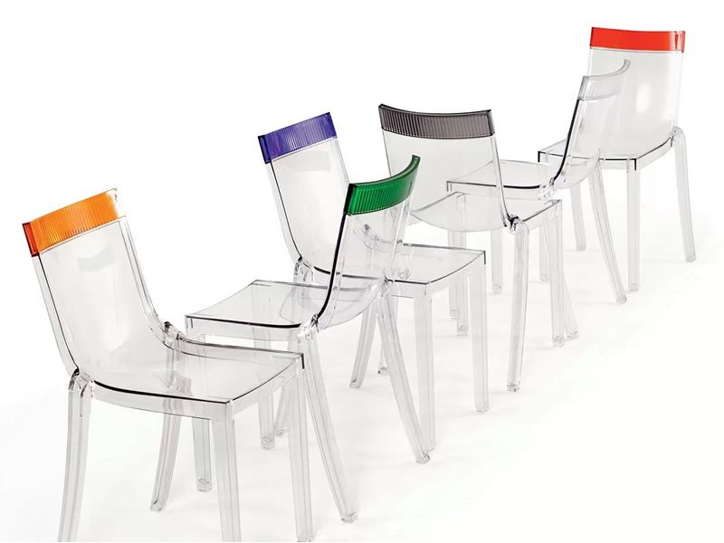 Hi cut kartell design chair in polycarbonate stackable also