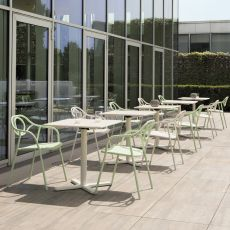 Zahir - Chair made of metal, stackable, also for garden, available in several colours