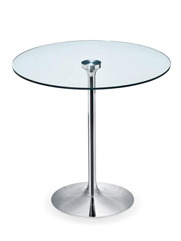 infinity tavolo fisso midj in metallo piano tondo in vetro o melaminico diverse misure. Black Bedroom Furniture Sets. Home Design Ideas