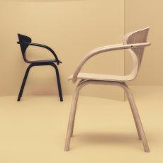 Bend   Moderner Stuhl Mit Armlehnen, Aus Eichenholz