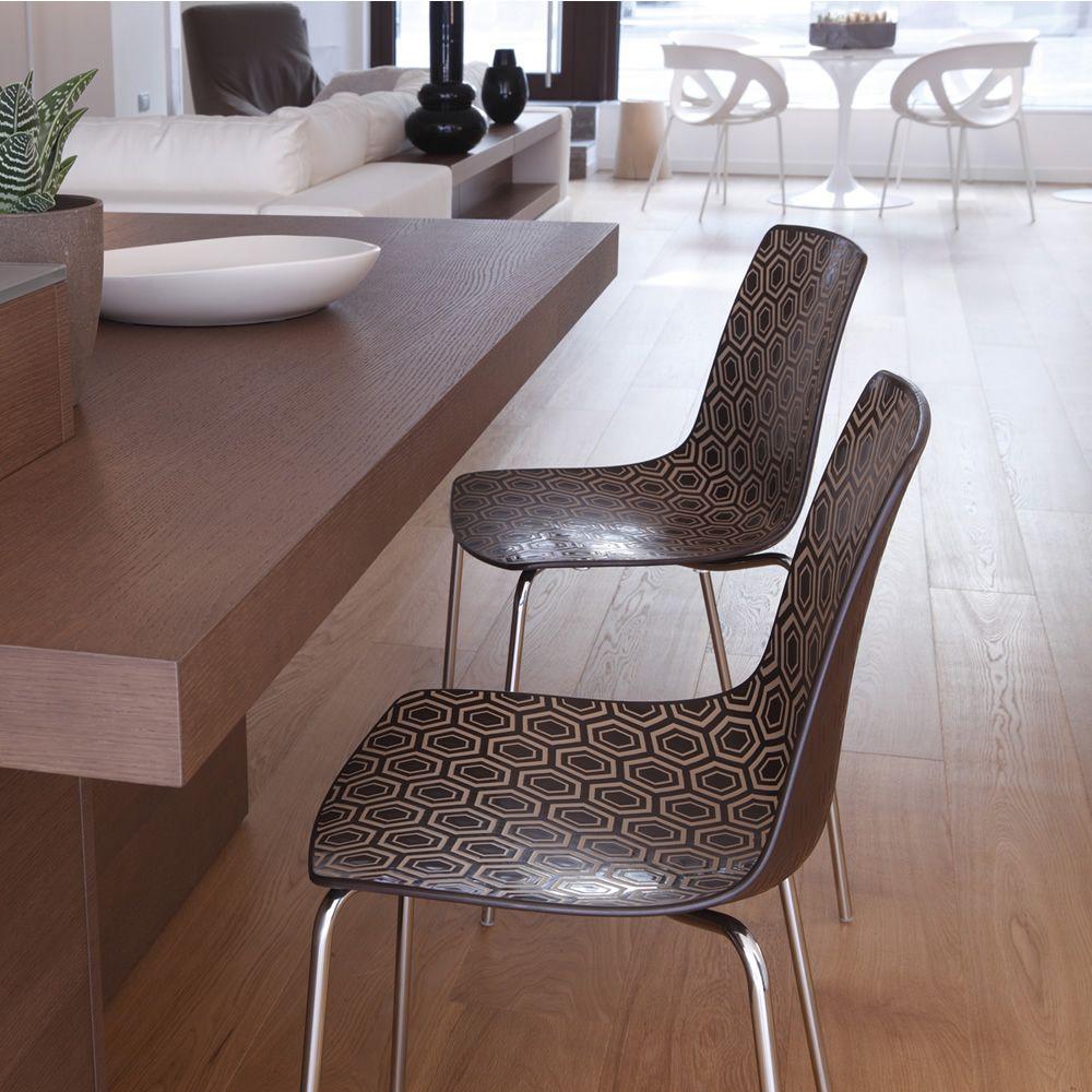 Alhambra sedia di design in metallo e tecnopolimero for Sedia design marrone