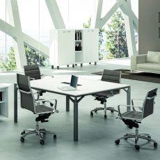 Office X8 Meet - Tavolo per sala riunioni o grande scrivania, in metallo e laminato, disponibile in diverse dimensioni e finiture